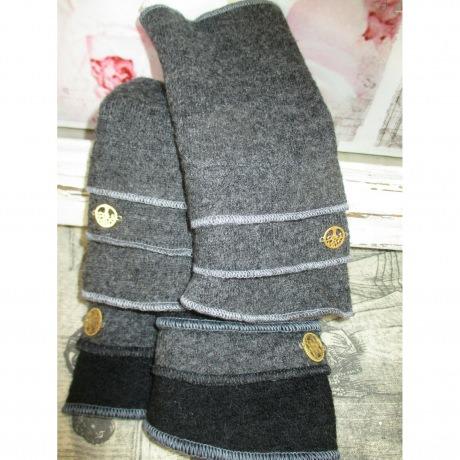 Armstulpen Stulpen Merino Wolle HandsStulpen grau schwarz m. Ornament Winter Filz