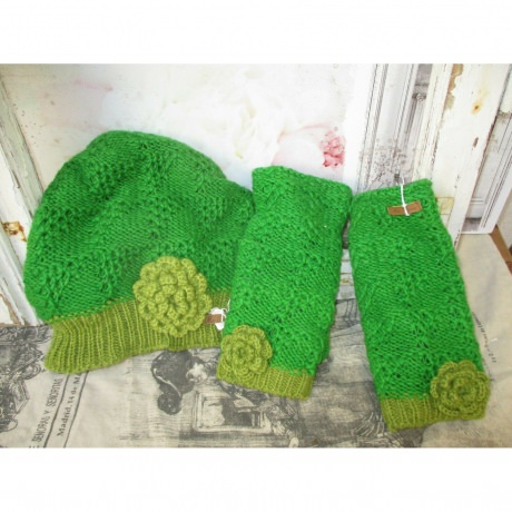 Armstulpen Stulpen Wolle Fleece Handstulpen Mütze grün Winter Wollmütze Hippie